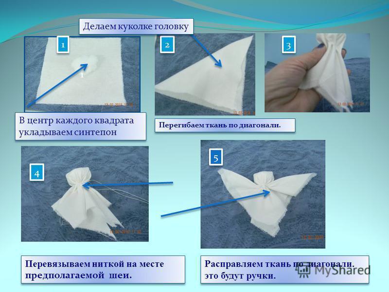 2 2 3 3 4 4 5 5 Перегибаем ткань по диагонали. Перевязываем ниткой на месте предполагаемой шеи. Перевязываем ниткой на месте предполагаемой шеи. Расправляем ткань по диагонали. это будут ручки. 1 В центр каждого квадрата укладываем синтепон В центр к