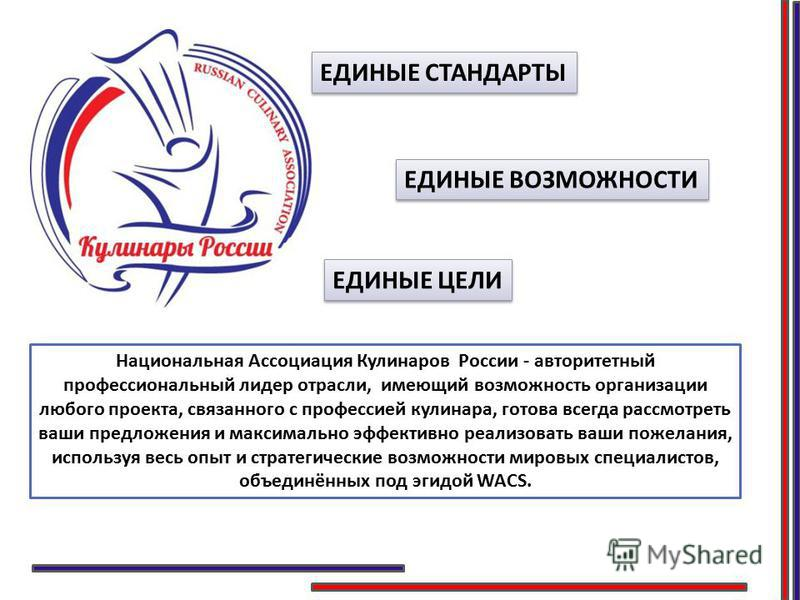 Национальная Ассоциация Кулинаров России - авторитетный профессиональный лидер отрасли, имеющий возможность организации любого проекта, связанного с профессией кулинара, готова всегда рассмотреть ваши предложения и максимально эффективно реализовать