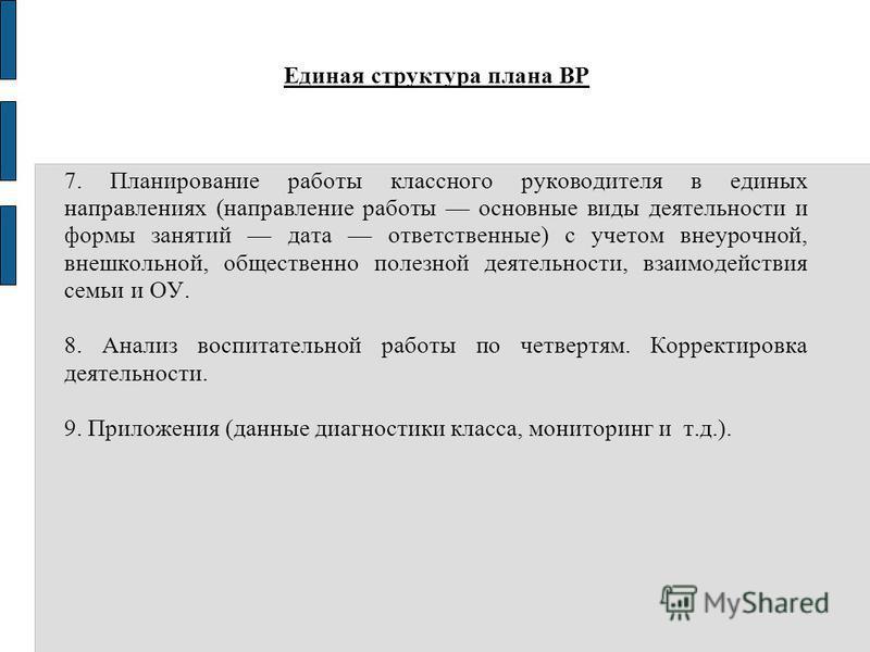 Единая структура плана ВР 7. Планирование работы классного руководителя в единых направлениях (направление работы основные виды деятельности и формы занятий дата ответственные) с учетом внеурочной, внешкольной, общественно полезной деятельности, взаи