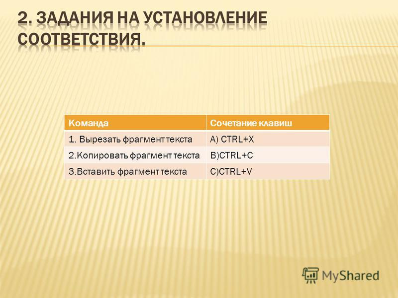 Команда Сочетание клавиш 1. Вырезать фрагмент текстаА) CTRL+X 2. Копировать фрагмент текстаB)CTRL+C 3. Вставить фрагмент текстаC)CTRL+V