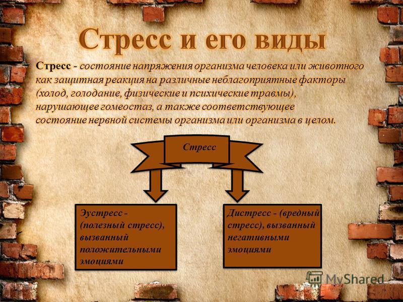 Эустресс - (полезный стресс), вызванный положительными эмоциями Дистресс - (вредный стресс), вызванный негативными эмоциями Стресс