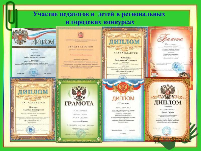 Участие педагогов и детей в региональных и городских конкурсах
