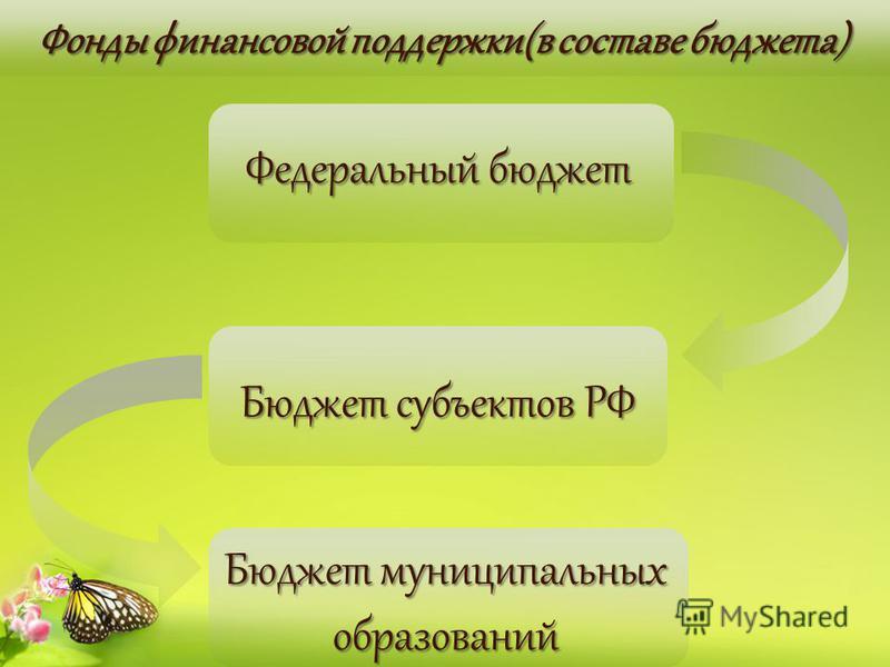 Фонды финансовой поддержки(в составе бюджета) Фонды финансовой поддержки(в составе бюджета) Бюджет субъектов РФ Федеральный бюджет Бюджет муниципальных образований