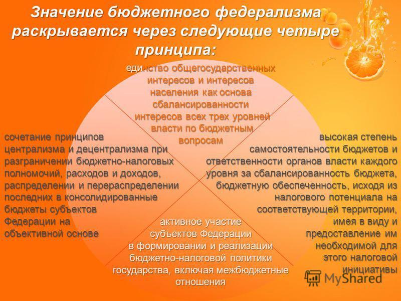 Значение бюджетного федерализма раскрывается через следующие четыре принципа: единство общегосударственных интересов и интересов населения как основа сбалансированности интересов всех трех уровней интересов всех трех уровней власти по бюджетным власт