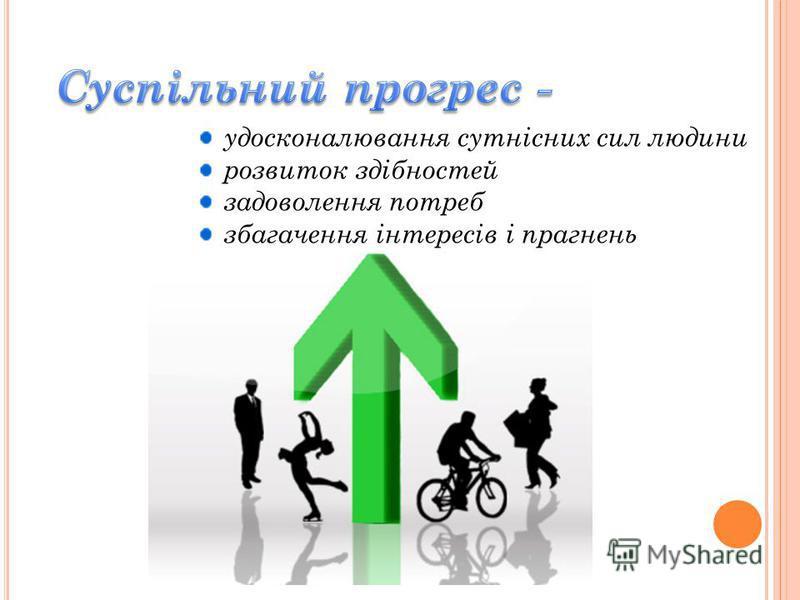 удосконалювання сутнісних сил людини розвиток здібностей задоволення потреб збагачення інтересів і прагнень