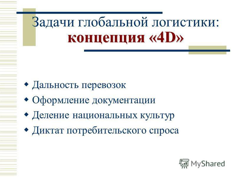 концепция «4D» Задачи глобальной логистики: концепция «4D» Дальность перевозок Оформление документации Деление национальных культур Диктат потребительского спроса
