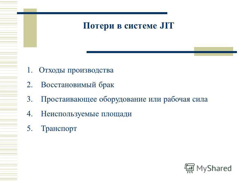 Потери в системе JIT 1. Отходы производства 2. Восстановимый брак 3. Простаивающее оборудование или рабочая сила 4. Неиспользуемые площади 5. Транспорт