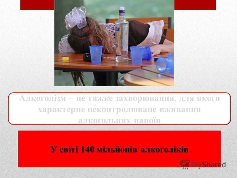 Алкоголізм – це тяжке захворювання, для якого характерне неконтролюване вживання алкогольних напоїв У світі 140 мільйонів алкоголіків