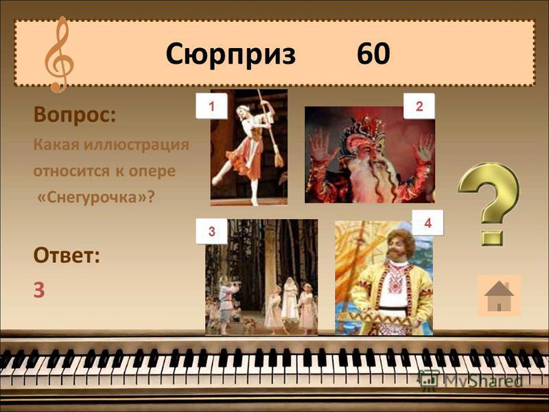 Вопрос: Какая иллюстрация относится к опере «Снегурочка»? Ответ: 3 Сюрприз 60 1 3 4 21