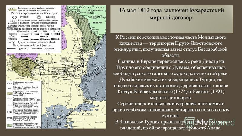 16 мая 1812 года заключен Бухарестский мирный договор. К России переходила восточная часть Молдавского княжества территория Пруто-Днестровского междуречья, получившая затем статус Бессарабской области. Граница в Европе переносилась с реки Днестр на П