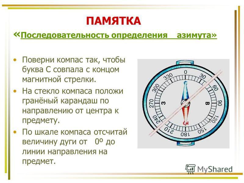 ПАМЯТКА « Последовательность определения азимута» Поверни компас так, чтобы буква С совпала с концом магнитной стрелки. На стекло компаса положи гранёный карандаш по направлению от центра к предмету. По шкале компаса отсчитай величину дуги от 0º до л