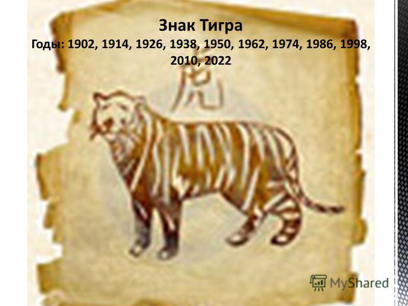 Знак Тигра Годы: 1902, 1914, 1926, 1938, 1950, 1962, 1974, 1986, 1998, 2010, 2022