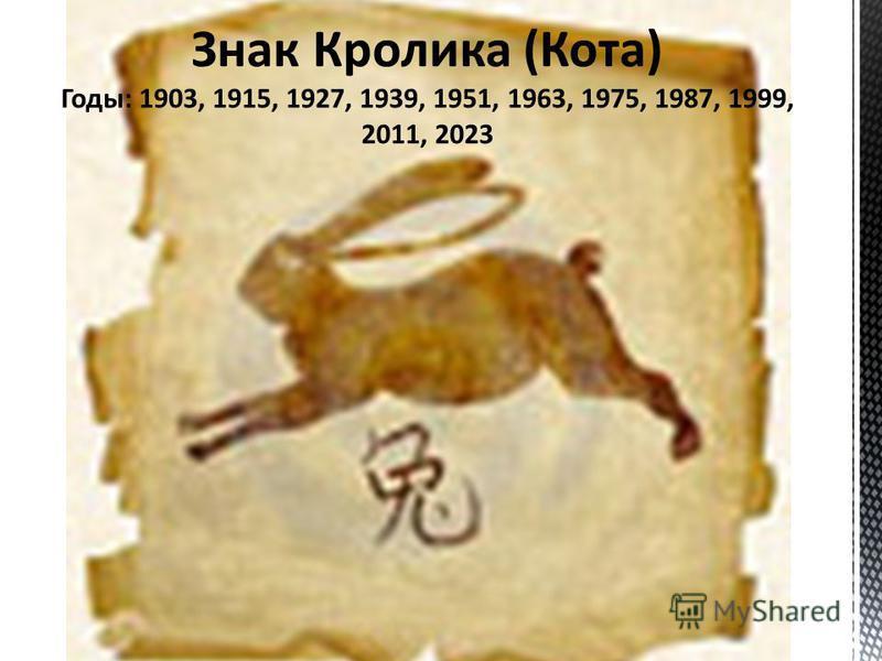 Знак Кролика (Кота) Годы: 1903, 1915, 1927, 1939, 1951, 1963, 1975, 1987, 1999, 2011, 2023