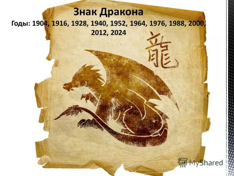 Знак Дракона Годы: 1904, 1916, 1928, 1940, 1952, 1964, 1976, 1988, 2000, 2012, 2024