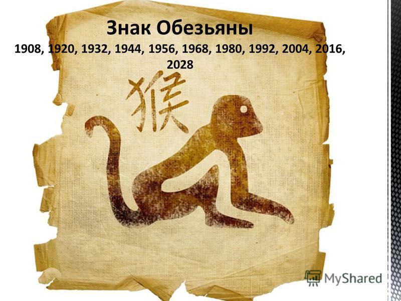 Знак Обезьяны 1908, 1920, 1932, 1944, 1956, 1968, 1980, 1992, 2004, 2016, 2028
