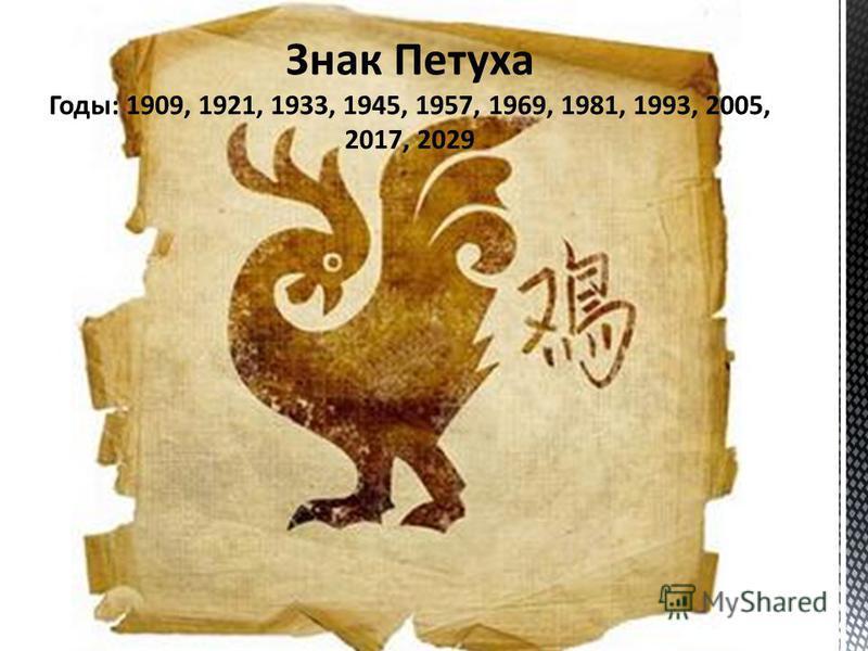 Знак Петуха Годы: 1909, 1921, 1933, 1945, 1957, 1969, 1981, 1993, 2005, 2017, 2029