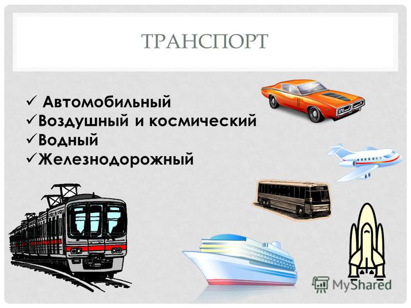 ТРАНСПОРТ Автомобильный Воздушный и космический Водный Железнодорожный