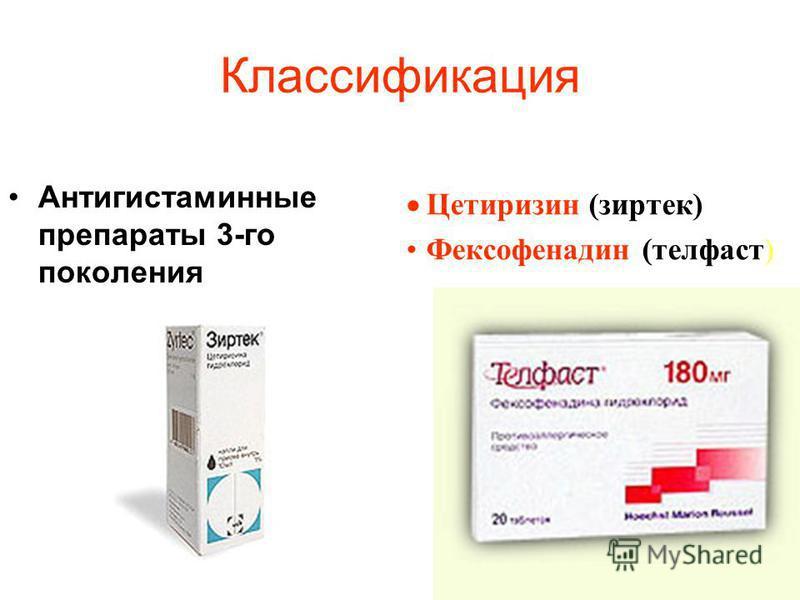 Классификация Антигистаминные препараты 3-го поколения Цетиризин (зиртек) Фексофенадин (телфаст)