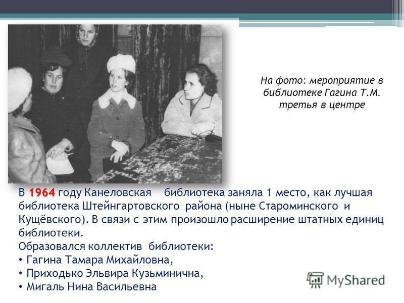 1964 В 1964 году Канеловская библиотека заняла 1 место, как лучшая библиотека Штейнгартовского района (ныне Староминского и Кущёвского). В связи с этим произошло расширение штатных единиц библиотеки. Образовался коллектив библиотеки: Гагина Тамара Ми