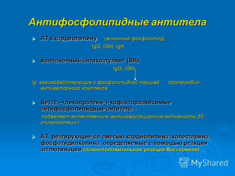 Антифосфолипидные антитела АТ к кардиолипину (анионный фосфолипид) АТ к кардиолипину (анионный фосфолипид) IgG, IGM, IgA IgG, IGM, IgA волчаночный антикоагулянт (ВА) волчаночный антикоагулянт (ВА) IgG, IGM IgG, IGM Ig, взаимодействующие с фосфолипидн