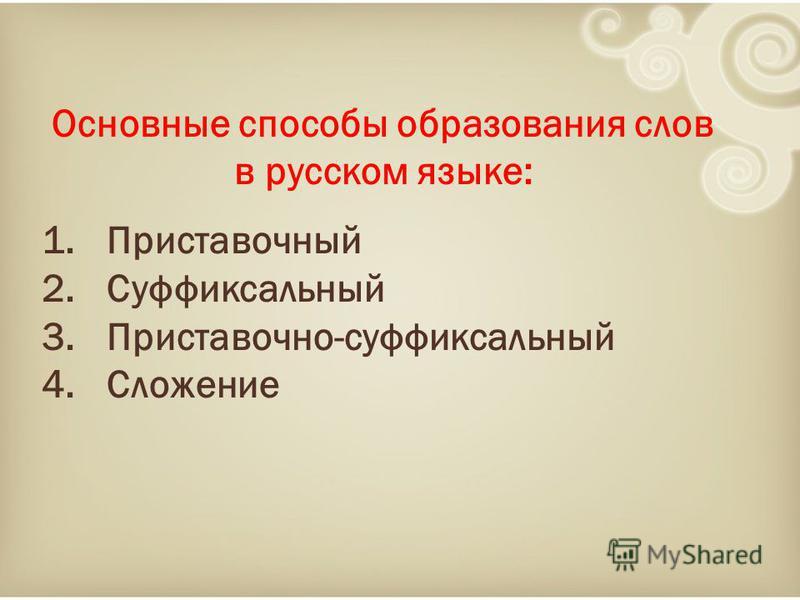 Основные способы образования слов в русском языке: 1. Приставочный 2. Суффиксальный 3.Приставочно-суффиксальный 4.Сложение