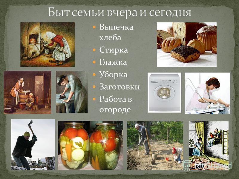 Выпечка хлеба Стирка Глажка Уборка Заготовки Работа в огороде