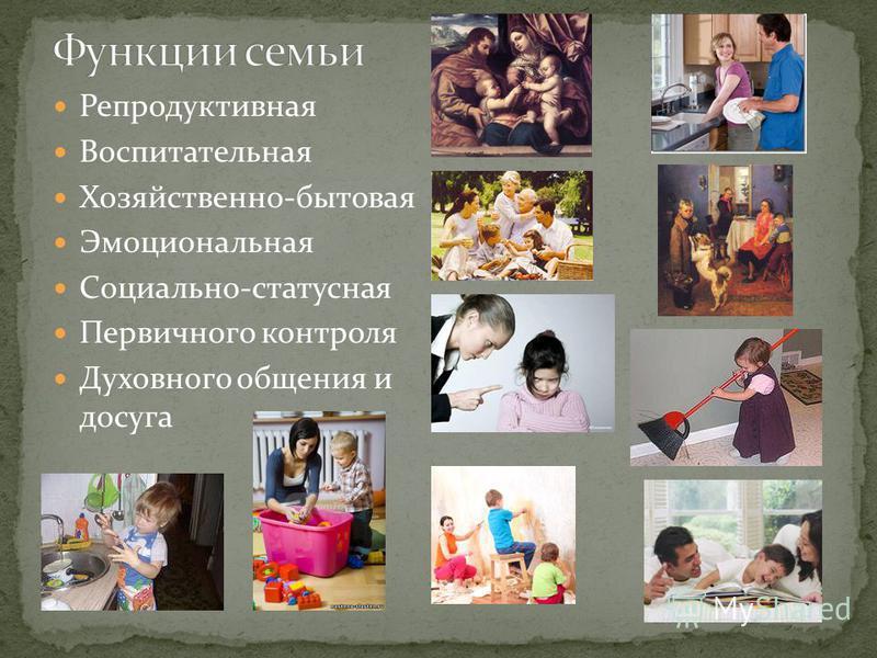 Репродуктивная Воспитательная Хозяйственно-бытовая Эмоциональная Социально-статусная Первичного контроля Духовного общения и досуга
