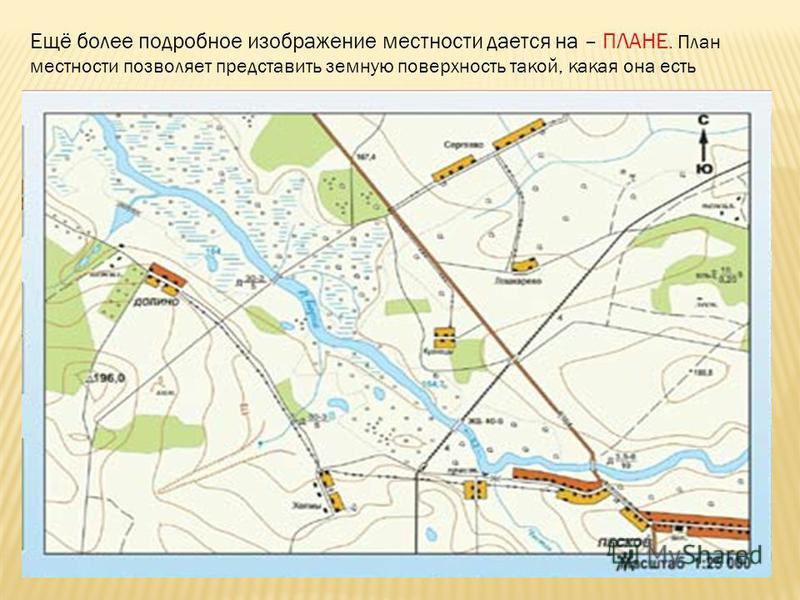 Ещё более подробное изображение местности дается на – ПЛАНЕ. План местности позволяет представить земную поверхность такой, какая она есть