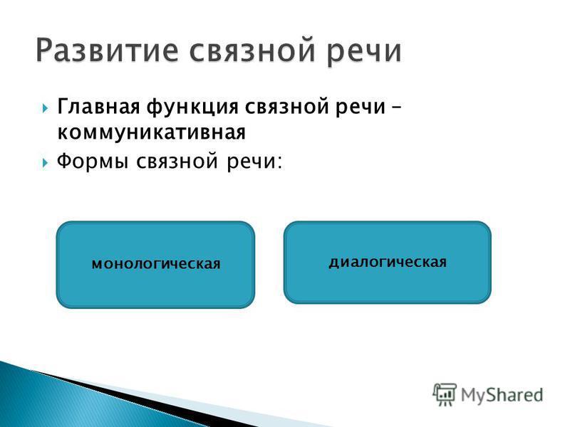 Главная функция связной речи – коммуникативная Формы связной речи: монологическая диалогическая