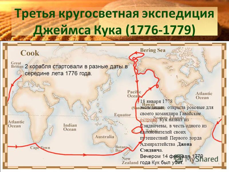Третья кругосветная экспедиция Джеймса Кука (1776-1779) 2 корабля стартовали в разные даты в середине лета 1776 года. 18 января 1778 экспедиция открыла роковые для своего командира Гавайские острова. Кук назвал из Сэндвичевы, в честь одного из вдохно