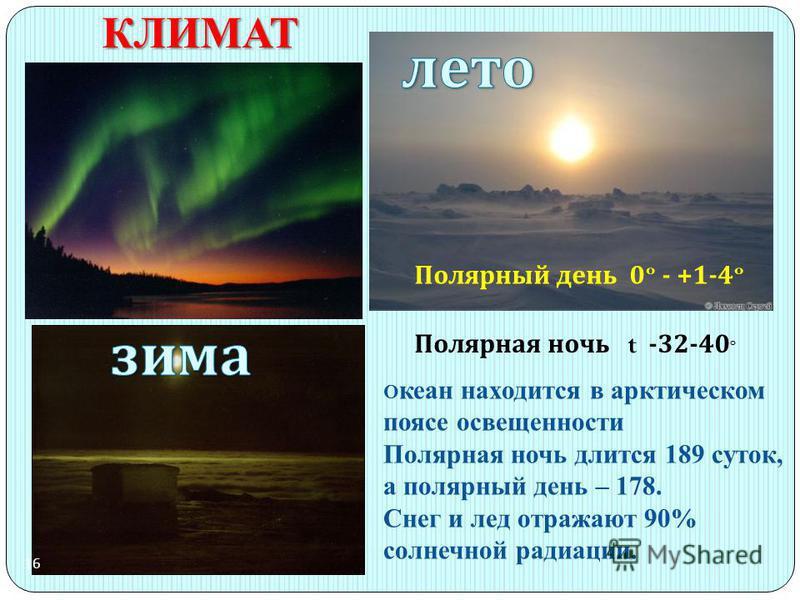 КЛИМАТ Полярный день 0º - +1-4º Полярная ночь t -32-40 º 16 О кеан находится в арктическом поясе освещенности Полярная ночь длится 189 суток, а полярный день – 178. Снег и лед отражают 90% солнечной радиации.