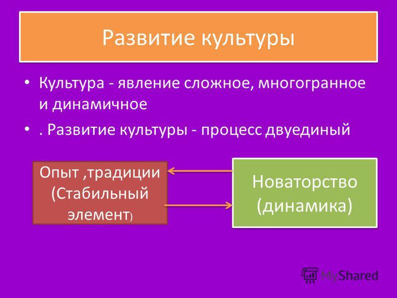 Развитие культуры Культура - явление сложное, мнoгoгpaннoe и динамичное. Развитие культуры - процесс двуединый Опыт,традиции (Стабильный элемент ) Новаторство (динамика) Новаторство (динамика)