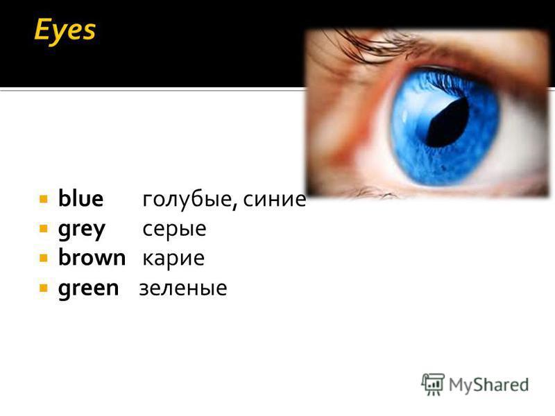 blueголубые, синие greyсерые brownкарие green зеленые