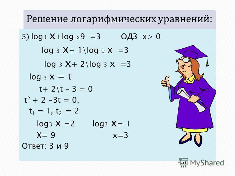 5) log 3 x +log х 9 =3 ОДЗ x> 0 log 3 x + 1\log 9 x =3 log 3 x + 2\log 3 x =3 log 3 x = t t+ 2\t – 3 = 0 t 2 + 2 -3t = 0, t 1 = 1, t 2 = 2 log 3 x =2 log 3 x = 1 X= 9 x=3 Ответ: 3 и 9
