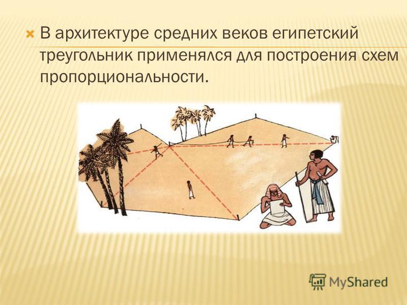 В архитектуре средних веков египетский треугольник применялся для построения схем пропорциональности.