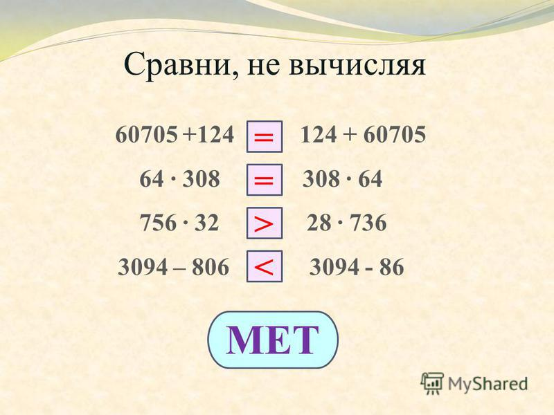 Сравни, не вычисляя 60705 +124 124 + 60705 64 308 308 64 756 32 28 736 3094 – 806 3094 - 86 = > < МЕТ =