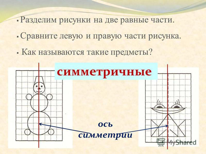 Разделим рисунки на две равные части. Сравните левую и правую части рисунка. Как называются такие предметы? симметричные ось симметрии