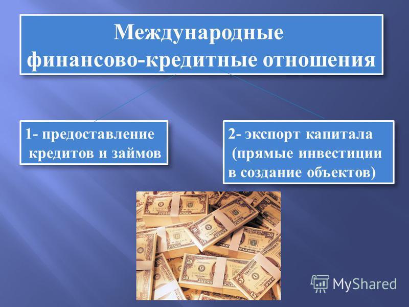 Международные финансово-кредитные отношения Международные финансово-кредитные отношения 1- предоставление кредитов и займов 1- предоставление кредитов и займов 2- экспорт капитала (прямые инвестиции в создание объектов) 2- экспорт капитала (прямые ин