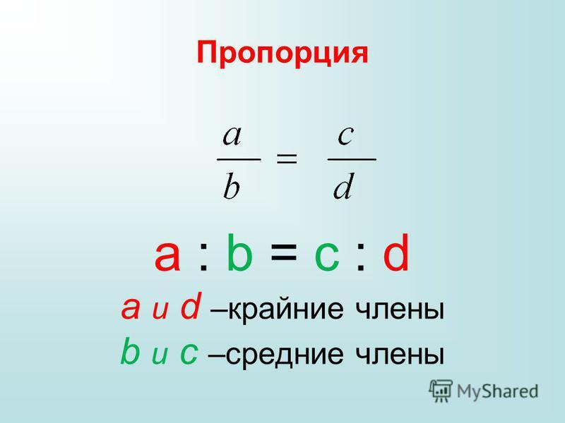 Пропорция a : b = c : d a и d –крайние члены b и c –средние члены