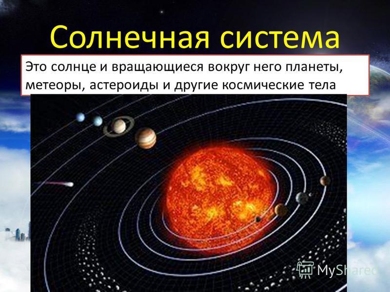 Это солнце и вращающиеся вокруг него планеты, метеоры, астероиды и другие космические тела