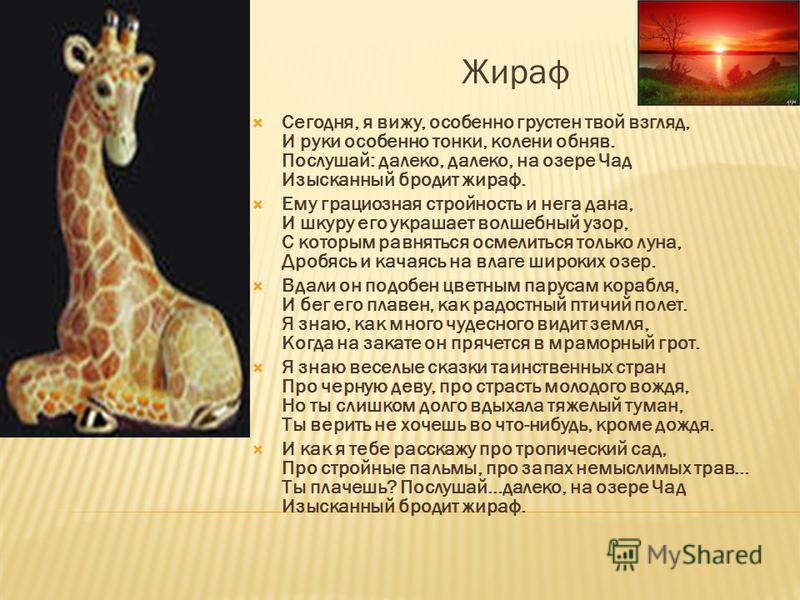 Жираф Сегодня, я вижу, особенно грустен твой взгляд, И руки особенно тонки, колени обняв. Послушай: далеко, далеко, на озере Чад Изысканный бродит жираф. Ему грациозная стройность и нега дана, И шкуру его украшает волшебный узор, С которым равняться