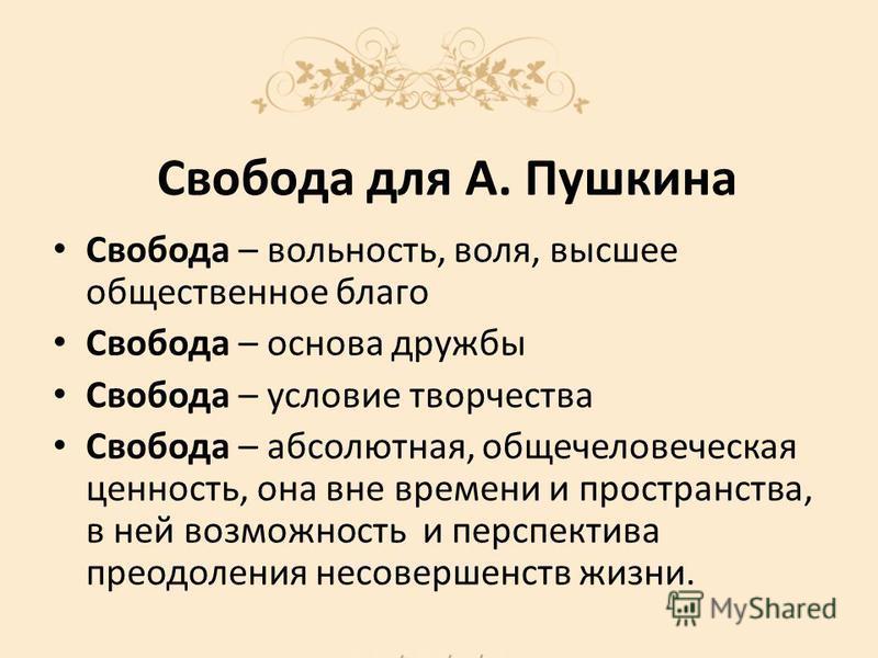 Свобода для А. Пушкина Свобода – вольность, воля, высшее общественное благо Свобода – основа дружбы Свобода – условие творчества Свобода – абсолютная, общечеловеческая ценность, она вне времени и пространства, в ней возможность и перспектива преодоле