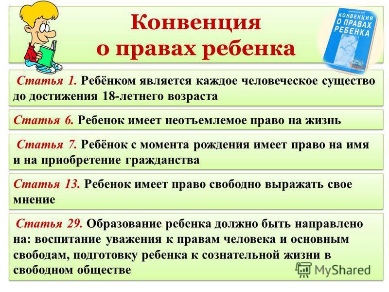 Конвенция о правах ребенка Конвенция о правах ребенка Статья 29. Образование ребенка должно быть направлено на: воспитание уважения к правам человека и основным свободам, подготовку ребенка к сознательной жизни в свободном обществе Статья 13. Ребенок