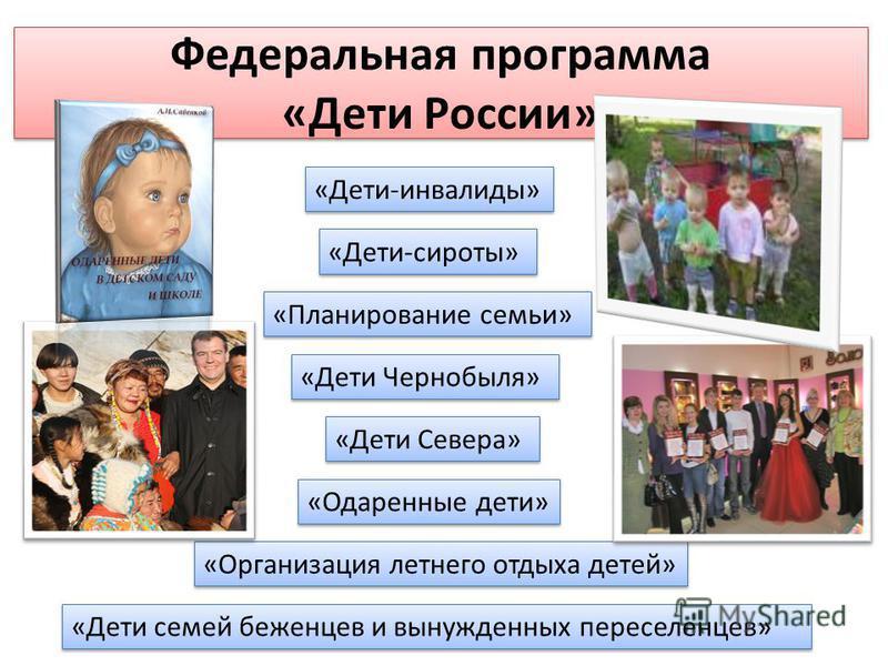 Федеральная программа «Дети России» «Дети-инвалиды» «Дети-сироты» «Планирование семьи» «Дети Чернобыля» «Дети Севера» «Одаренные дети» «Организация летнего отдыха детей» «Дети семей беженцев и вынужденных переселенцев»