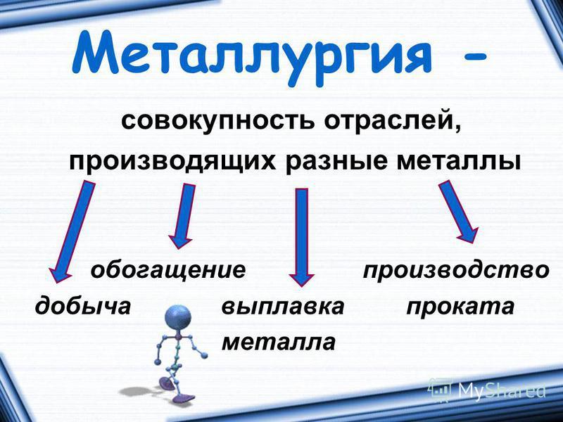 Металлургия - совокупность отраслей, производящих разные металлы обогащение производство добыча выплавка проката металла