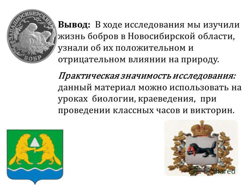 Вывод: В ходе исследования мы изучили жизнь бобров в Новосибирской области, узнали об их положительном и отрицательном влиянии на природу. Практическая значимость исследования: данный материал можно использовать на уроках биологии, краеведения, при п