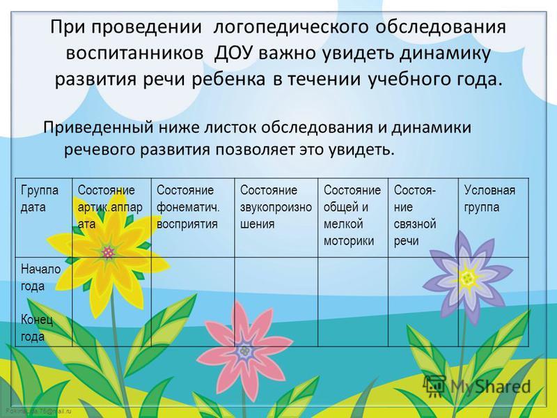 FokinaLida.75@mail.ru При проведении логопедического обследования воспитанников ДОУ важно увидеть динамику развития речи ребенка в течении учебного года. Приведенный ниже листок обследования и динамики речевого развития позволяет это увидеть. Группа