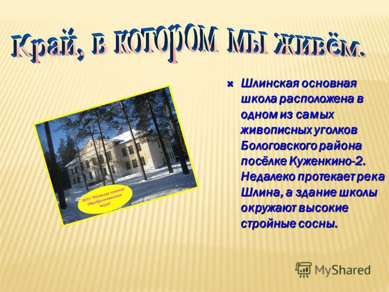 Шлинская основная школа расположена в одном из самых живописных уголков Бологовского района посёлке Куженкино-2. Недалеко протекает река Шлина, а здание школы окружают высокие стройные сосны. Шлинская основная школа расположена в одном из самых живоп