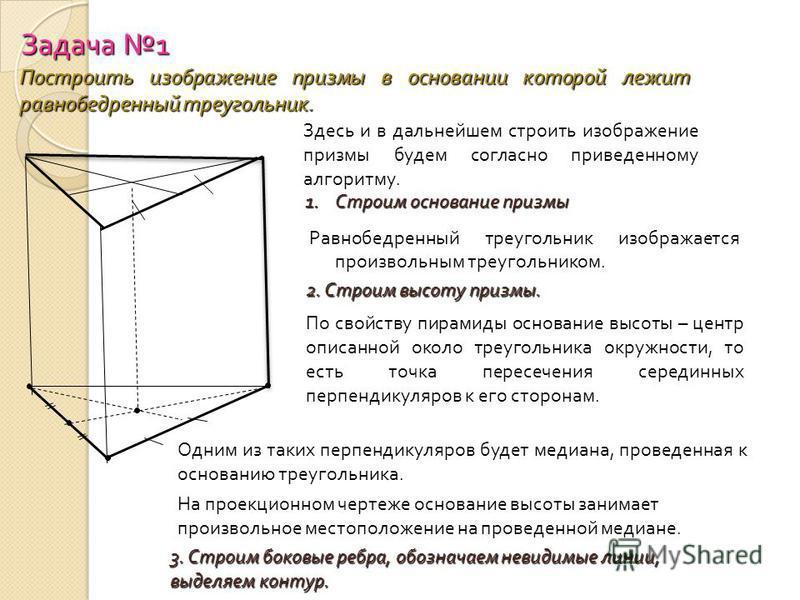 Построить изображение призмы в основании которой лежит равнобедренный треугольник. Задача 1 Здесь и в дальнейшем строить изображение призмы будем согласно приведенному алгоритму. 1. Строим основание призмы Равнобедренный треугольник изображается прои
