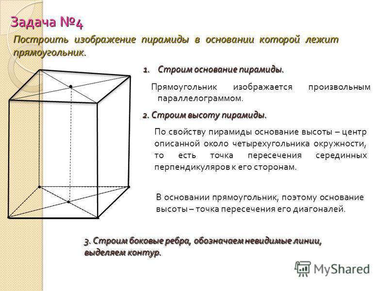 Задача 4 Построить изображение пирамиды в основании которой лежит прямоугольник. 1. Строим основание пирамиды. Прямоугольник изображается произвольным параллелограммом. 2. Строим высоту пирамиды. По свойству пирамиды основание высоты – центр описанно